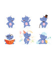 cute hippo in different situations collection vector image vector image