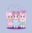 cute kawaii girls characters vector image vector image