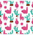 cute pink alpaca with cacti seamless pattern on vector image vector image