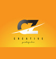 cz c z letter modern logo design with yellow vector image vector image