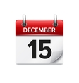 December 15 flat daily calendar icon vector image