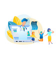 flat online consultation doctor and patient vector image
