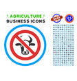 forbidden cattle rounded icon with set vector image vector image