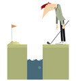 golfer stays near a water obstacle vector image