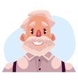 Grey haired old man face smiling facial vector image vector image