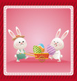 happy easter couple bunny egg celebration vector image vector image