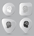 Human brain Glass buttons vector image