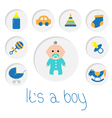 Its a boy Baby boy shower card with bottle horse vector image vector image