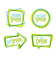 natural rough label design and green icon set of vector image