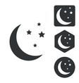 Night icon set monochrome vector image vector image