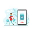 online pharmacy woman buying medicines via vector image