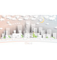 oslo norway city skyline in paper cut style with vector image