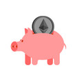 pig piggy bank and etherium financial vector image vector image