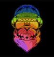 pug dog headphone colorful vector image vector image