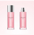 realistic detailed 3d blank perfume bottle pink vector image vector image