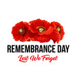 remembrance day lest we forget poppy icons vector image vector image
