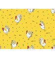 Seamless pattern with roosters on a yellow vector image