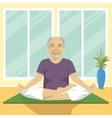 senior man doing yoga exercises in lotus position vector image