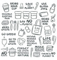 set hand drawn elements zero waste life vector image