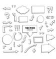 set of hand drawn doodle arrows pen design vector image