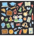 Set of school sign and symbol doodles elements vector image