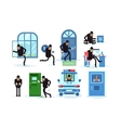 Set offenders thief breaks window running with vector image vector image