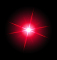 shining star on black background red color vector image vector image