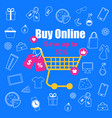 shopping trolley with sale tags on blue background vector image vector image