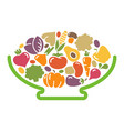 stylized image of a bowl of vegetables vector image vector image