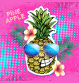 summer disco party poster design with pineapple vector image vector image
