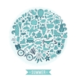 Summer heart design made of doodle season icons vector image vector image