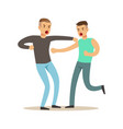 two furious men characters fighting and quarelling vector image vector image