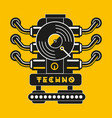 vinyl record with car engine techno and vector image vector image
