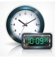 Wall clocks and electronic vector image vector image