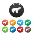 watching polar bear icons set color vector image vector image