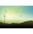 Wind turbine landscape vector image vector image