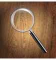 Wooden Background With Magnifying Glass vector image vector image