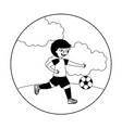 young boy playing soccer vector image vector image