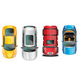 different cars top view position set vector image