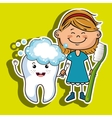 happy girl with a toothbrush and a smiling tooth vector image