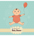 Baby shower card with a cute baby vector image