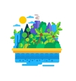 Island with Palms and Mountains vector image
