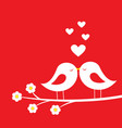 kiss of birds - romantic card for valentines day vector image