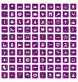 100 europe icons set grunge purple vector image vector image