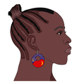 African Woman with earring vector image