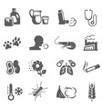 asthma and allergies bold black silhouette icons vector image vector image