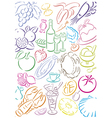 background colored food symbols vector image vector image