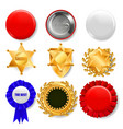 badge set plastic and golden empty button vector image