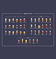 beer styles and types guide flat icons on dark