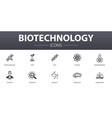 biotechnology simple concept icons set contains vector image